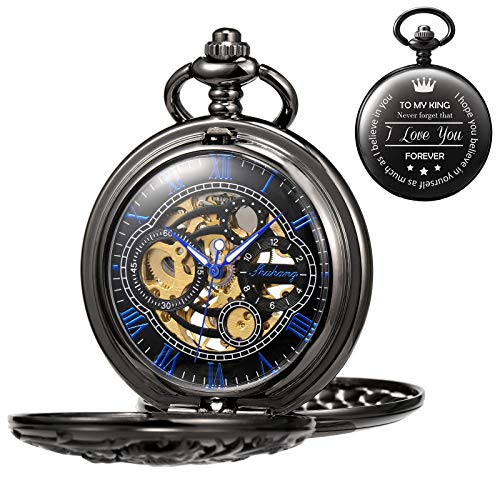 TREEWETO Antique Engraved Mechanical Pocket Watch Lucky Dragon Hollow Case Double Hunter Skeleton Dial Gifts for Men Personalized Gifts for Husband Boyfriend (King) with Chain + Box (Womens Watches Antique)