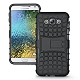 Newlike Heavy Duty Hard Back Armor Shock Proof Case Cover with Kick Stand for Samsung Galaxy E7 (Black)