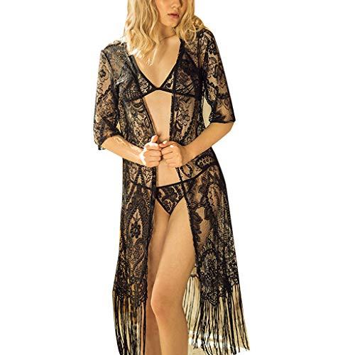- 3pcs Women Sexy Lingerie Tassel Lace Sleepwear Chemises Lingerie Heer Babydoll Lingerie Robe Set Underwear with g-String (Black, Free Size)
