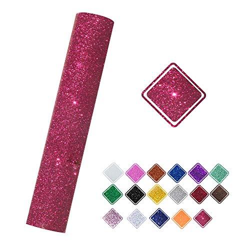 VINYL FROG Glitter 0.8x5ft Cherry Heat Transfer Vinyl Roll(HTV) for T-Shirt Clothing Garment Bags (9.6x60)