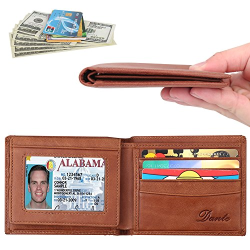 Dante RFID Blocking Cowhide Leather Bifold Wallet for Men with 2 ID Windows(2 ID Window Tan)