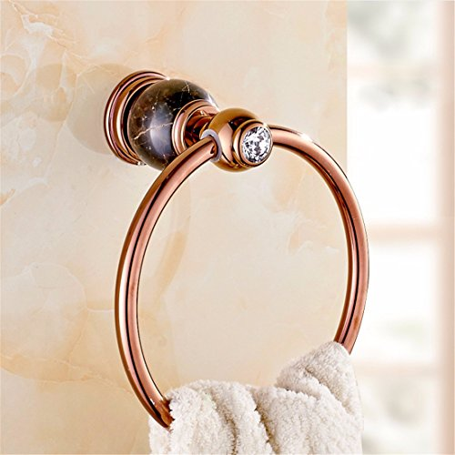 (LAONA European copper Rose Gold Diamond Black Marble Base bathroom accessories set toilet brush toilet paper holder,Towel)