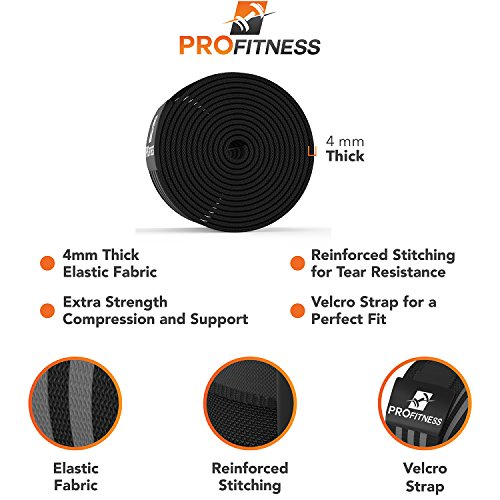 ProFitness Weightlifting Knee Wraps (Pair) - Adjustable Compression Sleeves for Cross Training, Squats, Powerlifting, Weightlifting - Improved Gym Workout Strength & Stability - Unisex (Black/Gray)