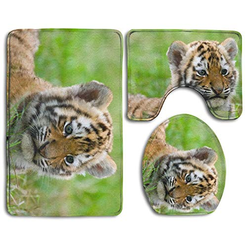 (RRSS-KURUI301 Wild Baby Tiger 3 Piece Bathroom Set,Toilet Set Mat Rug Non-Slip Contour Rug Toilet Lid Cover and Bath Mat)