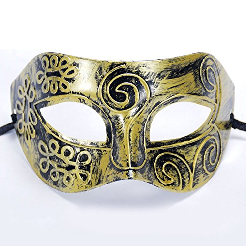 yanQxIzbiu Halloween Costume Men Vintage Prince Half Face Mask Halloween Masquerade Party Event Costume Prop Gold -