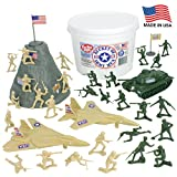 TimMee BUCKET of ARMY MEN: Tan vs Green 54pc Soldier Playset - Made in USA by Tim Mee