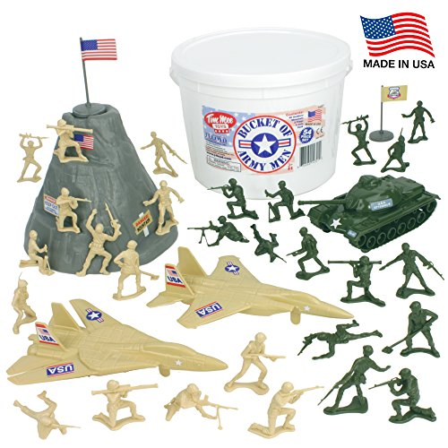 Toy Story Bucket (TimMee BUCKET of ARMY MEN: Tan vs Green 54pc Soldier Playset - Made in USA)