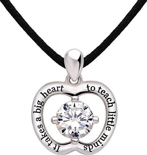 ALOV Jewelry Sterling Silver It Takes a Big Heart to Teach Little Minds Cubic Zirconia Apple Pendant Necklace for Teacher