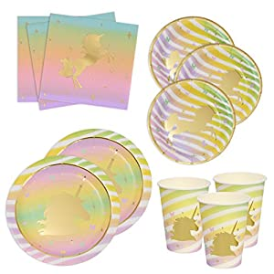 Gift Boutique Unicorn Birthday Plates Napkins and Cups with Gold Foil for 24 Guests 24 Dinner Plates 24 Dessert Plates…
