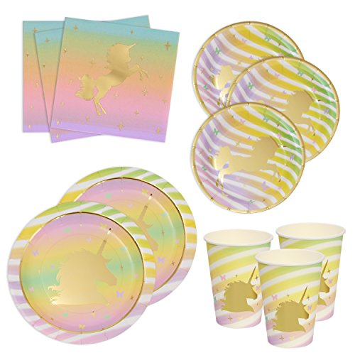 Gift Boutique Unicorn Birthday Plates Napkins and Cups with Gold Foil for 24 Guests 24 Dinner Plates 24 Dessert Plates 50 Luncheon Napkins and 24 Cups Unicorn Party Supplies Metallic Tableware Decor]()