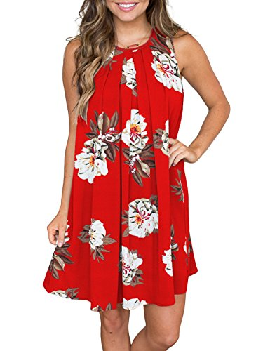 - MEROKEETY Women's Sleeveless Floral Print Pleated Summer Loose Casual Mini Tank Dress Red