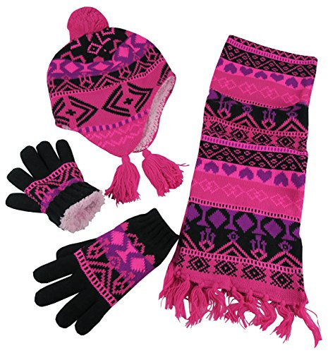N'Ice Caps Big Girls Sherpa Lined Geo Print Hat/Scarf/Glove Knitted Set (8-12yrs, fuchsia/black/neon pink)