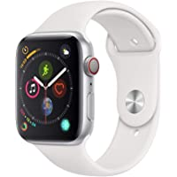 Apple Watch Series 4 GPS + Cellular 44mm Silver Aluminum Case Smartwatch (White Sport Band)