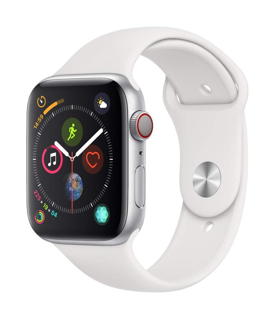 Apple Watch Series 4 (GPS + Cellular, 44mm) - Silver Aluminum Case with White Sport Band by Apple