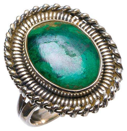 StarGems(tm) Natural Malachite Handmade Unique 925 Sterling Silver Ring, US size 6 X2574 (Stone Italian Tm Ladies)