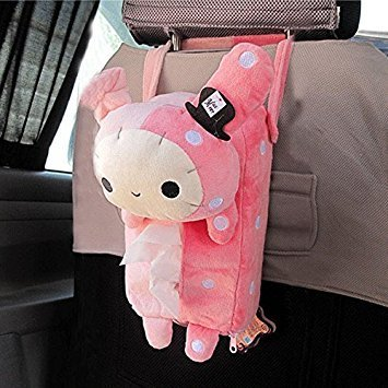 Generic Cute Soft Pink Plush Master Rabbit Tissue Box Cover Car Accessories Home Decor