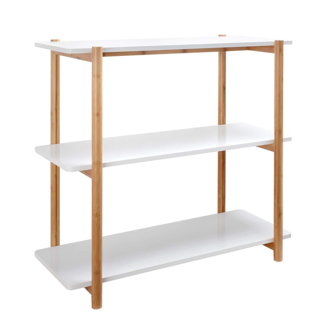 ZRI Bamboo Regal Standregal Wandregal Küchenregal Bücherregal mit 3 Ablagen - Allzweckregal Holz 80x36,5x80cm für Büro Küche Wohnzimmer, Weiß (Weiss, 80cm)
