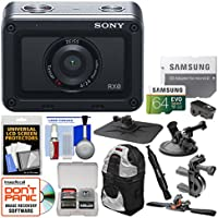 Sony DSC-RX0 Ultra-Compact Shock & Waterproof Video Camera with 64GB Card + Backpack + Car Suction Cup, Dashboard, Bike Handlebar & Helmet Mounts Kit