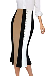 1275f1233e Womens Stretchy Nylon Spandex Bell Shaped Trumpet Pencil Skirt for Office  Wear Knee Long Mini · $19.95 · VFSHOW Womens Colorblock High Waist Work  Party ...