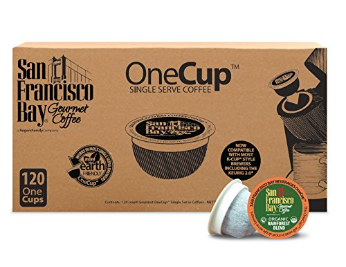 San Francisco Bay OneCup Organic Rainforest Blend (120 Count) Single Serve Coffee Compatible with Keurig K-cup Brewers Single Serve Coffee Pods, Compatible with Keurig, Cuisinart Single Serve Brewers