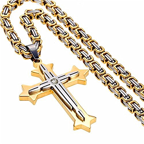 Hot Sell Men's Fashion Gold Color Religious Stainless Steel Crystal Cross Pendant Byzantine Necklace 18