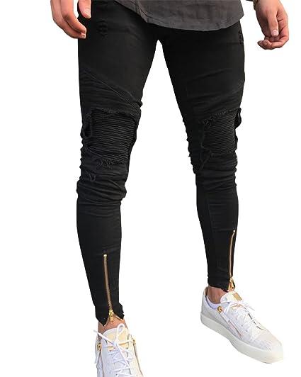 Qitun Biker Jeans Hommes Slim Fit Genou Déchiré Styles avec Fermeture  éclair Pantalon Elastique  Amazon.fr  Vêtements et accessoires 88a66b831c6