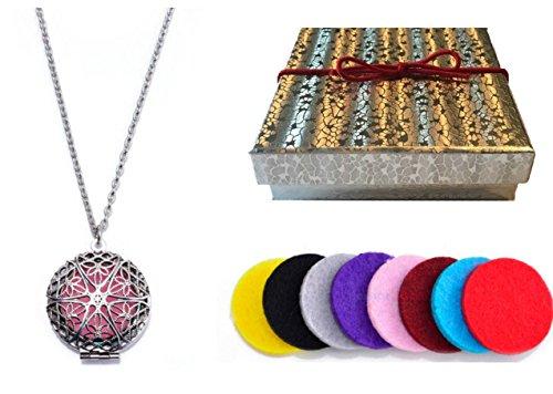 Design Silver Locket - Premium AyaZen Aromatherapy Necklace Diffuser. Silver Filigree Design Locket With Chain & 8 Felt Pads (Silver)