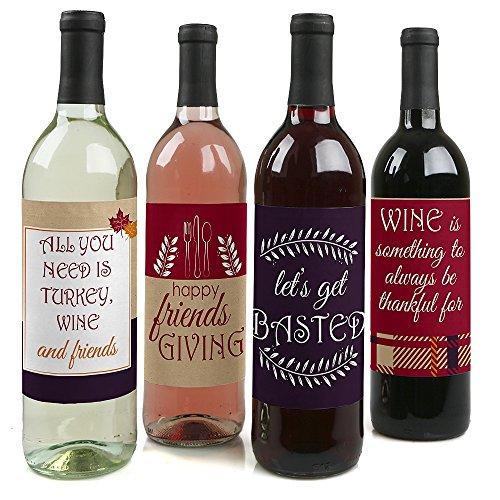 Friends Thanksgiving Feast - Friendsgiving Wine Bottle Label Stickers - Set of 4