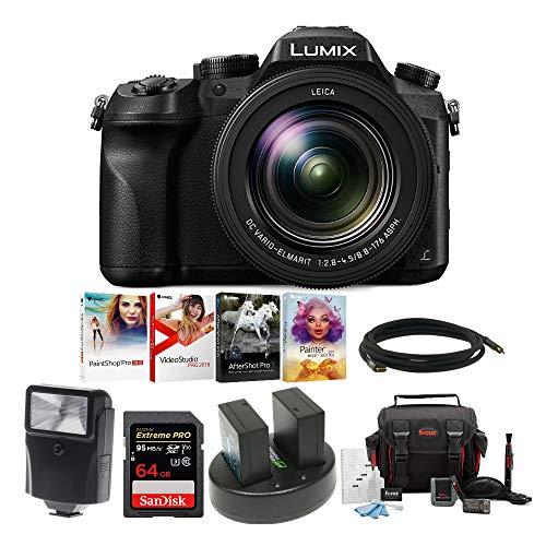"Panasonic LUMIX DMC-FZ2500 Digital Camera, 21.1 Megapixel, 1"" Sensor,4K + 2 Wasabi Battery and 64GB Kit"