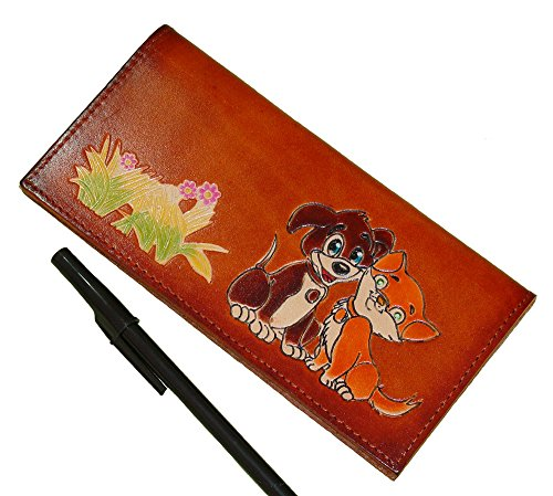 Genuine Leather Checkbook Cover, the Best Friend Doggie and Kitty Pattern. (Brown)