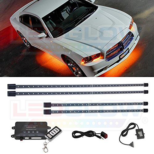 LEDGlow 4pc Orange LED Underbody Underglow Car Light Kit - Includes Wireless Remote - Music Mode - Clear Angled Mounting Brackets