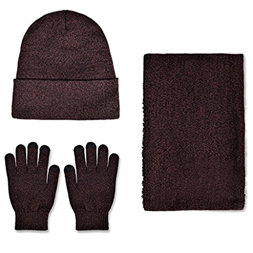 Winter Beanie Hat + Scarf + Touch Screen Gloves, Warm Unisex 3 Pieces Knit Cap Set for Men Women Christmas Gift New Year Gift (Dark Red) by Donsane (Image #4)