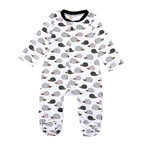 Baby Boys Girls Cartoon Bodysuit Infant Hedgehog Animal Printed Coverall Romper Footie Jumpsuit Outfits