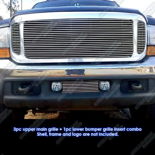 APS Compatible 1999-2004 Ford F-250//F-350 Super Duty//Excursion Billet Grille Grill Combo Insert
