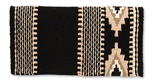 Blanket Contour Saddle - Mayatex Cowtown Saddle Blanket, Black/Sand/Taupe/Cream, 36 x 34-Inch