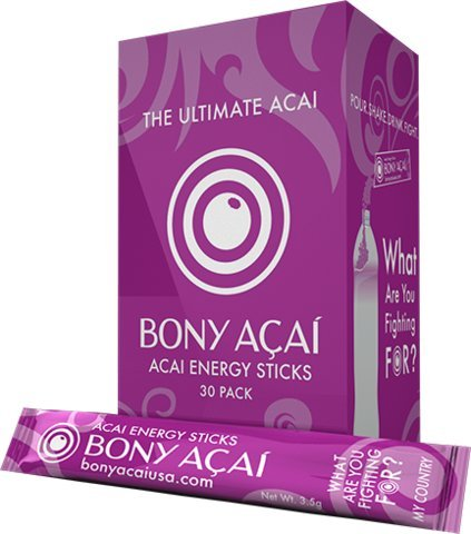 Bony Acai Energy Sticks : 30 Count Pack of Water Enhancers Boost Natural Energy, High in Antioxidants, Zero Sugar w/ Only 4 Calories Per Stick