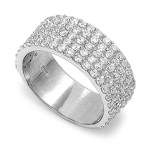 - Flat Micro Pave White CZ Wide Cigar Ring New 925 Sterling Silver Band Size 8