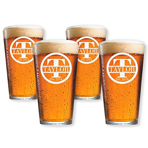 (Personalized Beer Glass, Customized Pint Glass, Set of 4 Housewarming Gifts, Wedding Favors, (Pint 16oz.))