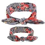 Susenstone Adults And Baby DIY Printing Rabbit Ears Elastic Cloth Bowknot Headband (Gray)