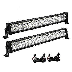 LED Light Bar YITAMOTOR 2PCS 24 inch Light Bar Spot Flood Combo Offroad Driving Lights with Wiring Harness for ATV, Jeep, Truck, 4x4, 4WD, Trailer, UTV, Boat, 120W - 10,800 Lumens, 3 Years Warranty