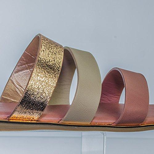 Bamboewomens Platte Slip Op Strappy Sandaal Met Dubbele En Driedubbele Riem Mauve 3 Bandjes