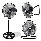 Kool-it 3 in 1 Premium Large High Velocity Industrial Black Floor Fan 18″ Floor Stand Mount Oscillating