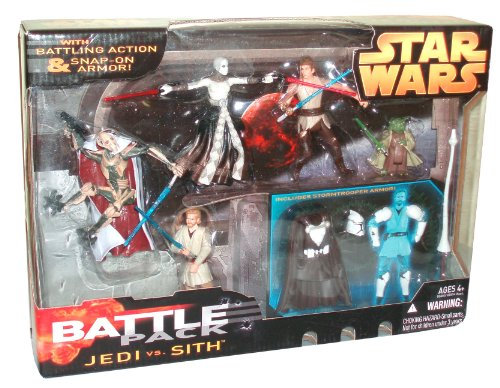 Star Wars Year 2005 Battle Packs Series 5 Pack 4 Inch Tall Action Figure Set - JEDI vs SITH with General Grievous with Blaster Pistol and Blue Lightsaber; Anakin Skywalker with Blue Lightsaber, Obi-Wan Kenobi with Blue Lightsaber; Asajj Ventress with 2 Red Lightsaber and Yoda with Green Lightsaber Plus Bonus Stormtrooper Snap-On Armor, Helmet, Uniform Outfit and Lance -