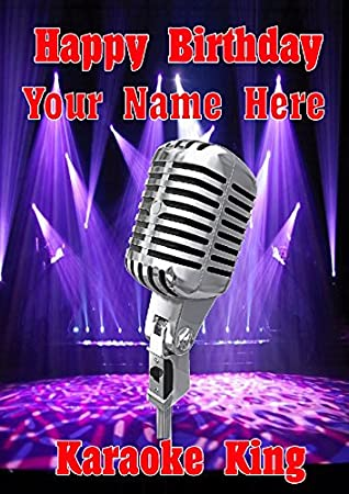 Microphone Karaoke King Cptmi12 Happy Birthday A5 Personalised Greeting Card POSTED BY US GIFTS FOR ALL 2016 FROM DERBYSHIRE UK Amazoncouk Office