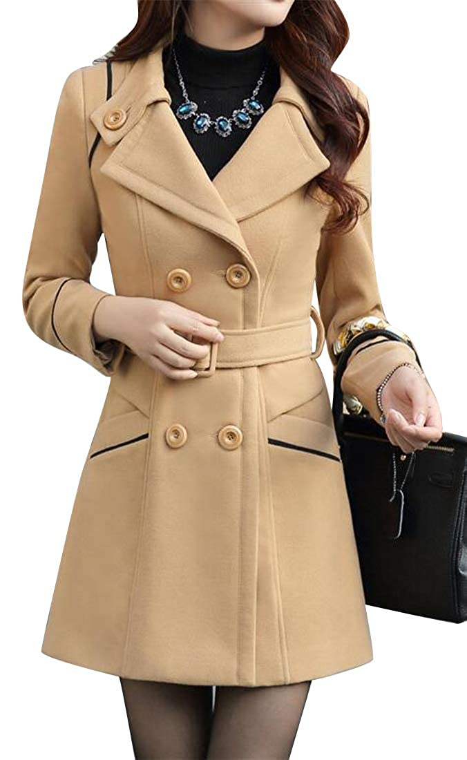 Camel YYG Womens Belted Lapel Solid color Slim Double Breasted Wool Blend Trench Pea Coat Overcoat
