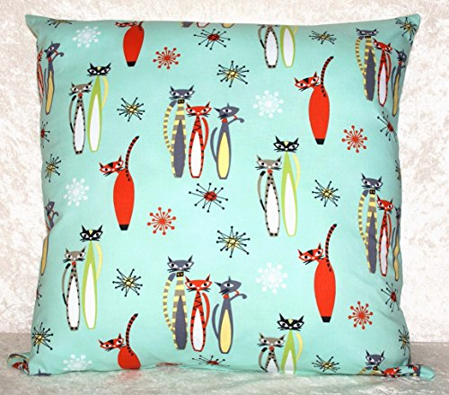 Aqua Pillow or Cushion Cover - Retro Cats - Cosmic Atomic Stars - Fits 20