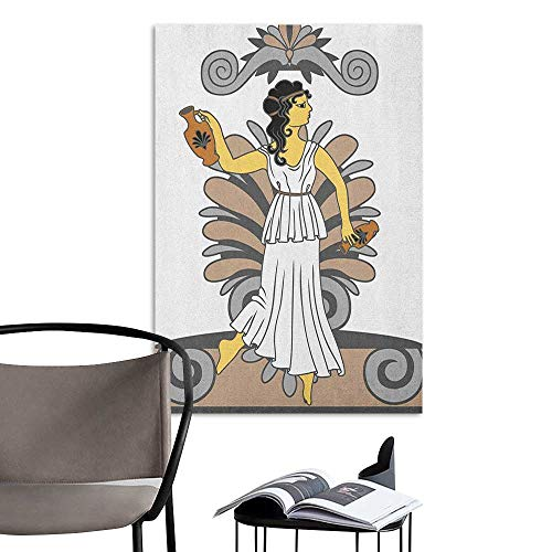 Jaydevn Waterproof Art Wall Paper Poster Toga Party Greek Woman with Amphoras in Classical Style Colored Variant Art Grey Pale Brown Black Window Wall Sticker W24 x H36