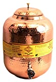 IndianArtVilla Handmade Pure Copper | 609 Oz Water dispenser | Storage Water Tank With Tap Kitchen Home Good Health Benefits