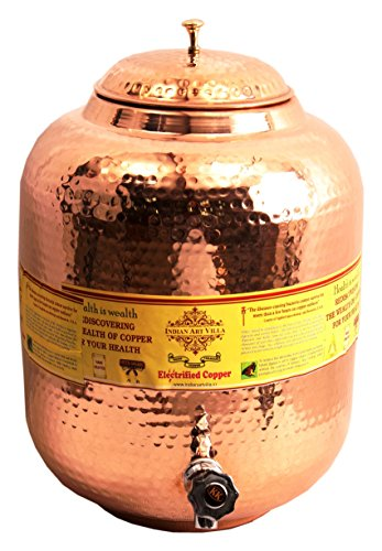- IndianArtVilla Handmade Pure Copper | 609 Oz Healthy Copper Benefits Water dispenser | Storage Water Tank With Tap Kitchen for Home, Kitchen, Yoga and Ayurveda Benefits