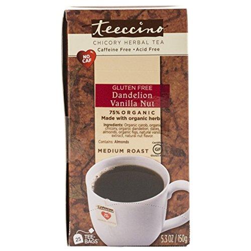 Teeccino Dandelion Vanilla Nut Chicory Herbal Tea Bags, Gluten Free, Caffeine Free, Acid Free, 25 Count -